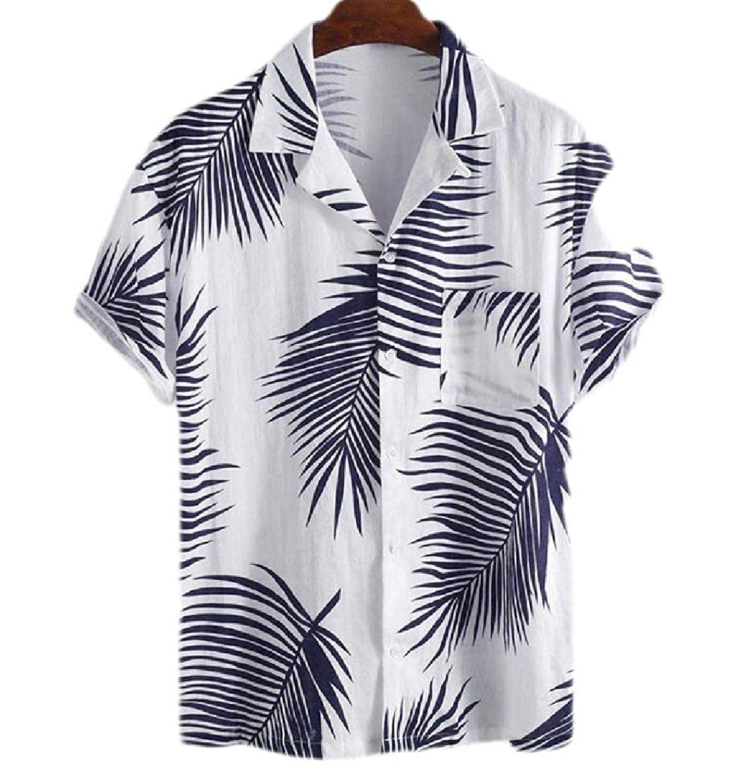 Zantt Men Short Sleeve Lapel Casual Print Button Down Shirts