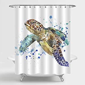 MitoVilla Antique Sea Turtle Shower Curtain, Watercolor Underwater Wildlife Animal Turtle Swimming in Ocean Bathroom Decor, Turtle Gifts for Women, Men, Baby Kids, Children, Yellow, Green, 72 W x 72 L