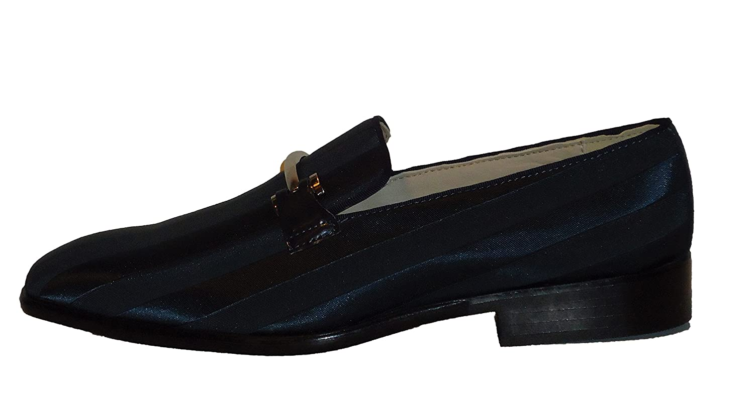Expressions 6757 Mens Elegant Navy Blue Satin Formal Tux Dress Shoes Loafers