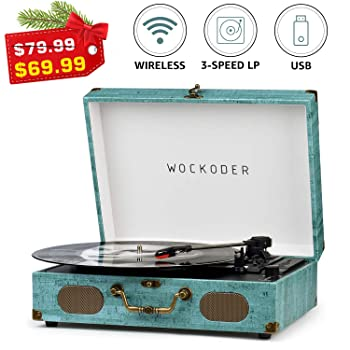 Wockoder Portable Bluetooth Turntable