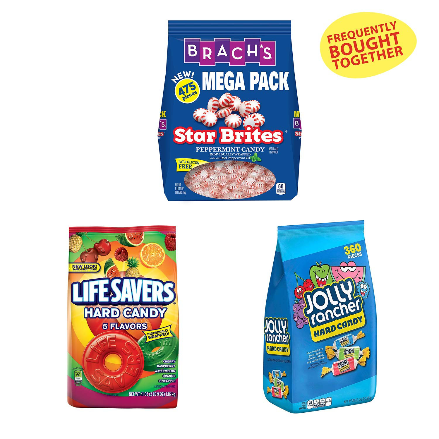 Life Savers Hard Candy Bag Five Flavors (41 Ounce, 2 Pack), Jolly Rancher Bulk Halloween (5 Pounds) and Brach's Star Brites Peppermint Candy (5.63 Pound, Individually Wrapped Bulk Holiday Candy) by Life Savers