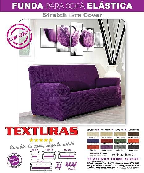 Texturas VIP- Funda de sofá Elástica Low Cost (Varios tamaños Disponibles) (3_Plazas_180_210_cms, Malva)