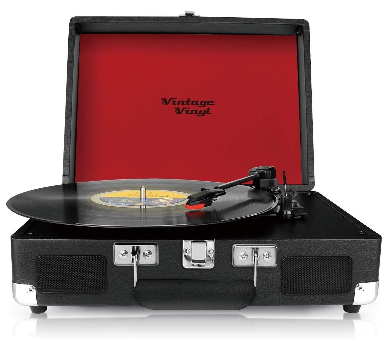 Vintage Vinilo, portátil, Negro, diseño Retro Tocadiscos con ...
