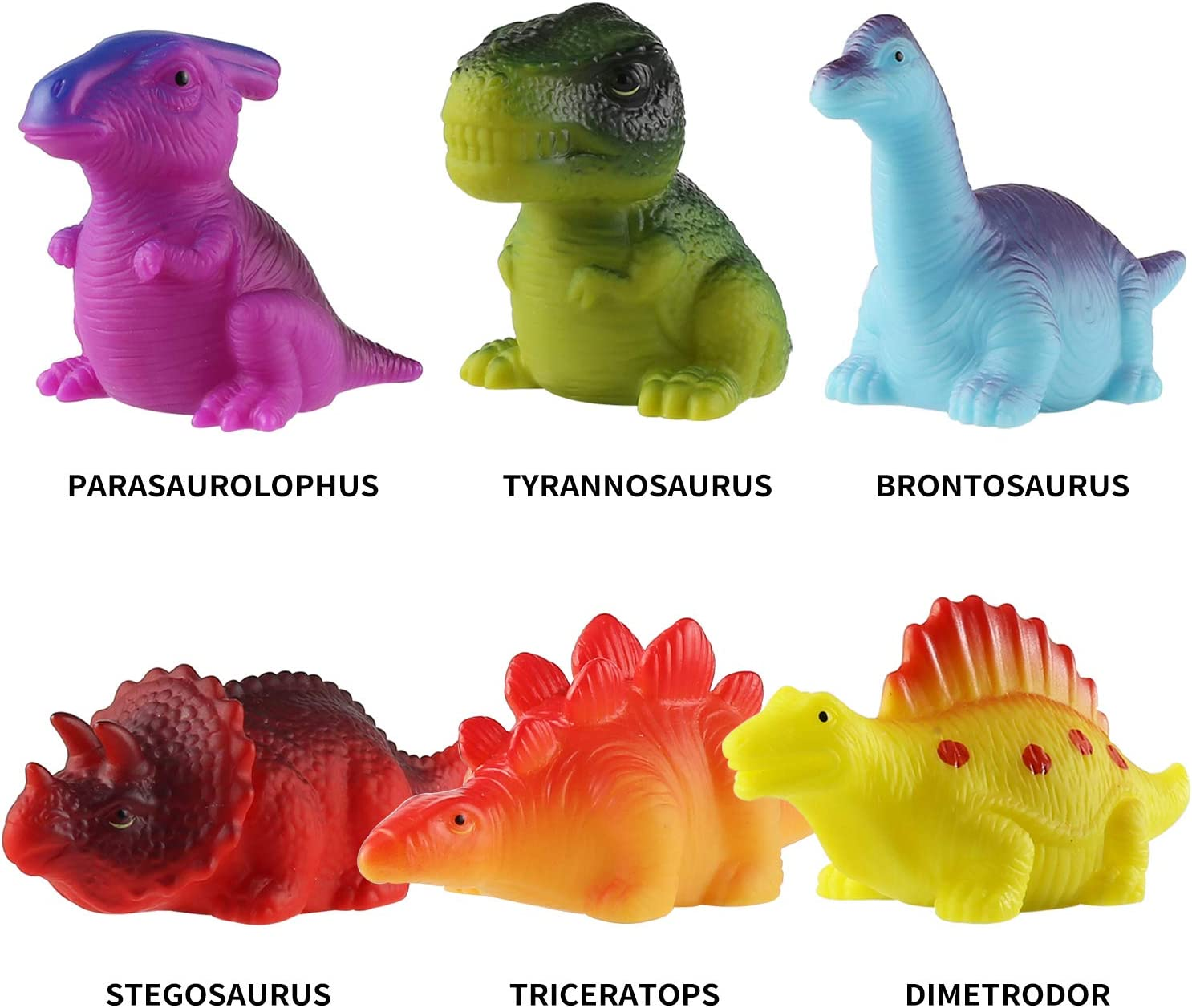 for Baby Toddler Nephew in Birthday Christmas Easter Great Water Bathtub Shower Pool Bath Toy for Children Preschool MAPIXO 6 Packs Light-Up Floating Dinosaur Bath Toys Set