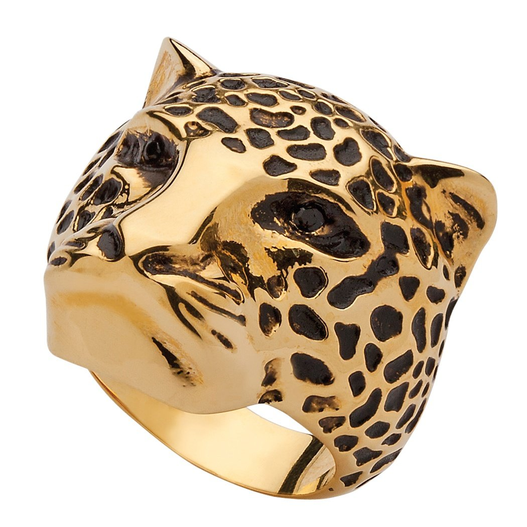Seta Jewelry Black Pave Simulated Crystal 14k Yellow Gold-Plated Leopard Ring