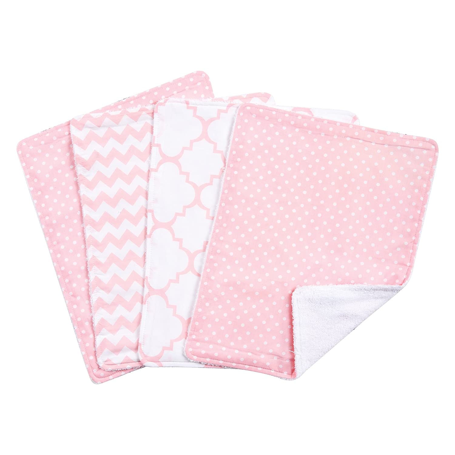 Trend Lab Sky 4-Pack Burp Cloth Set, Pink: Amazon.ca: Bébés