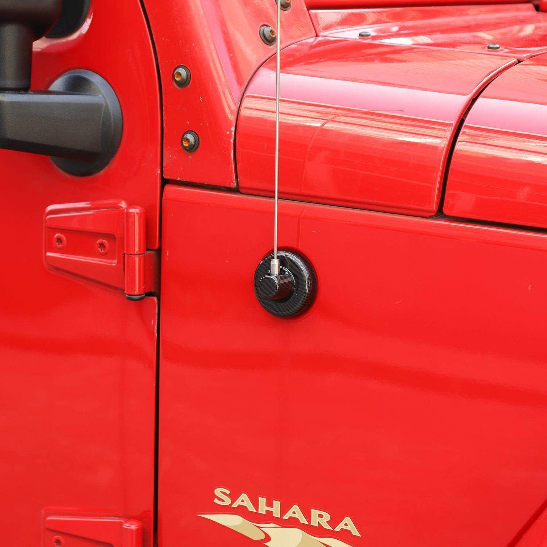 JeCar Antenna Base ABS Antenna Mount Trim for 2007-2020 Jeep Wrangler JK JL JT Carbon Fiber Texture