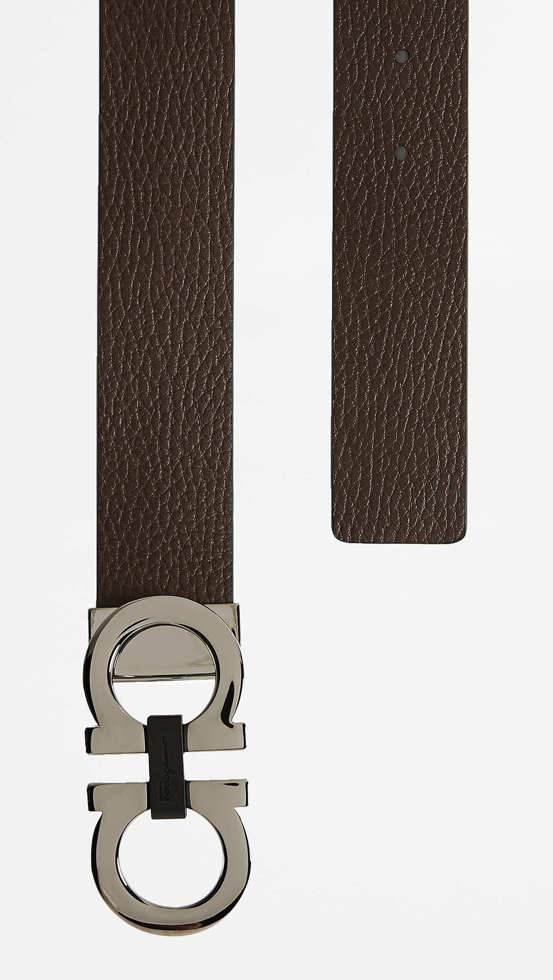 Salvatore Ferragamo Men's Reversible/Adjustable Belt-678783, Nero/Hickory 36 by Salvatore Ferragamo (Image #4)