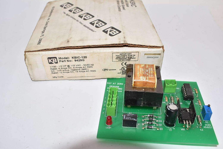 KB ELECTRONICS KBIC-120 Motor Rating 0.5HP 0.4KW, W/O HEATSINK, Variable Speed DC Motor Control, Input 9AMP 115VAC 50/60HZ, KBIC Series, 9429, Output 6AMP 0-90VDC