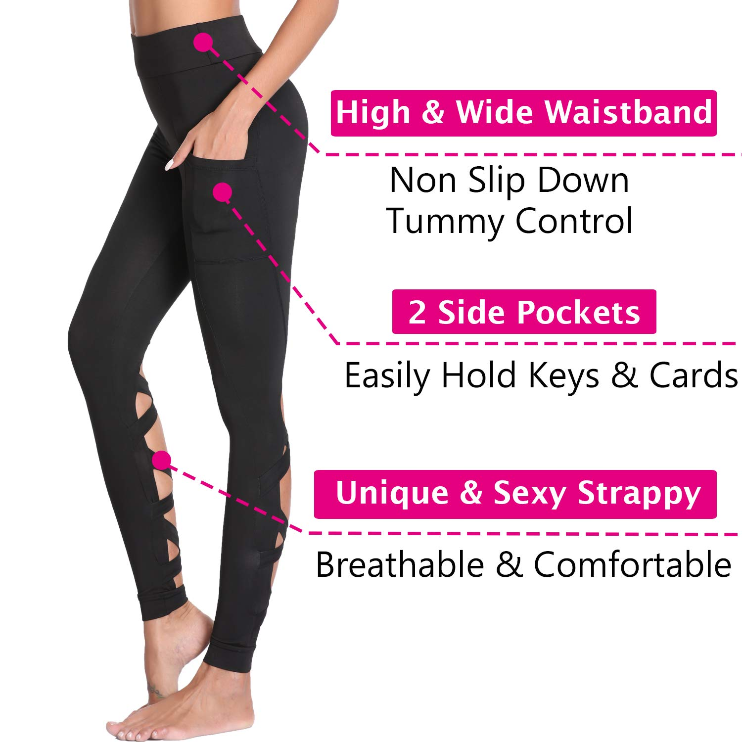 523eafdca097f2 Amazon.com: Joyshaper Workout Leggings for Women with Pockets Cutout  Strappy Tights High Waist Capri Pants Running Gym Trousers: Clothing