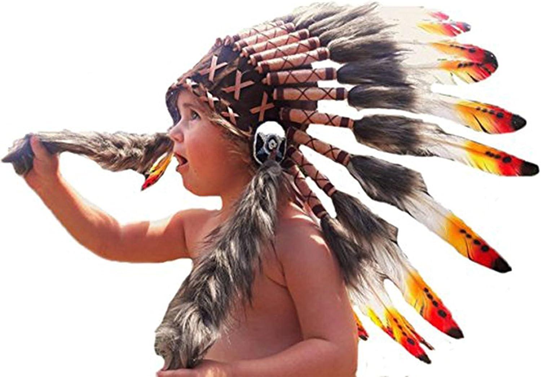 KARMABCN Sombrero Indio de 2-5 años Niño/Niña: 3 Colores Indian Headdress 20,5 Inch. - 52 cm