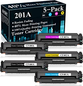 5-Pack (2BK+C+Y+M) 201A | CF401A CF402A CF403A Toner Cartridge Replacement for HP Color Laserjet Pro MFP M277dw MFP M277n MFP M277c6 M252dw M252n M277 M252 Printer,Sold by TopInk