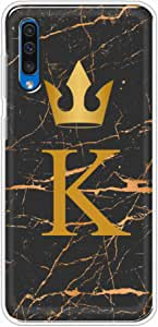 okteq Clear TPU Protection and Hybrid Rigid Clear Back Cover Compatible with Samsung Galaxy A50 - Golden K letter black marble By okteq