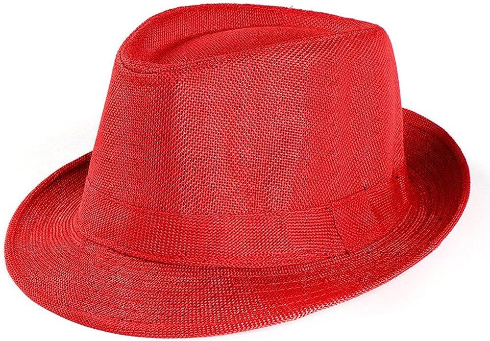llywit Women and Mens Straw Fedora Panama Beach Sun Hat Black Ribbon Band