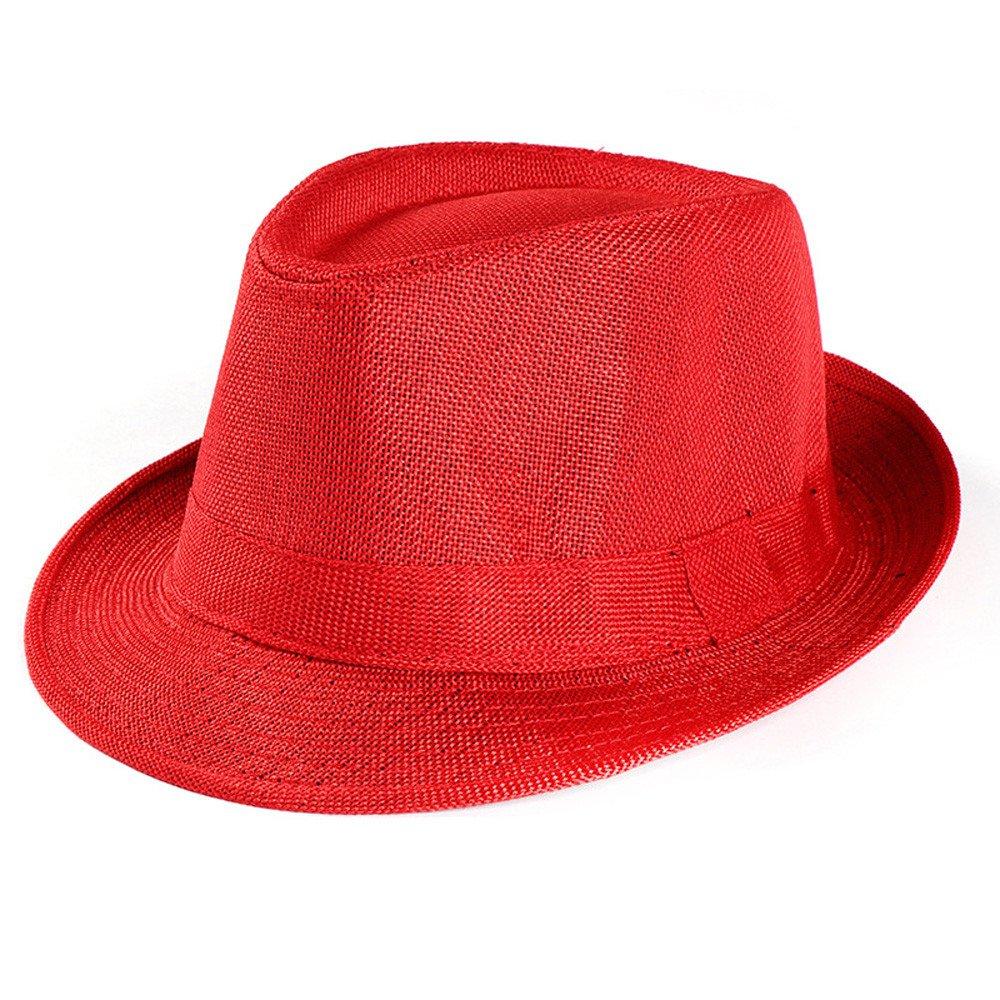 Unisex Trilby Gangster Cap Beach Sun Straw Hat Band Sunhat Red