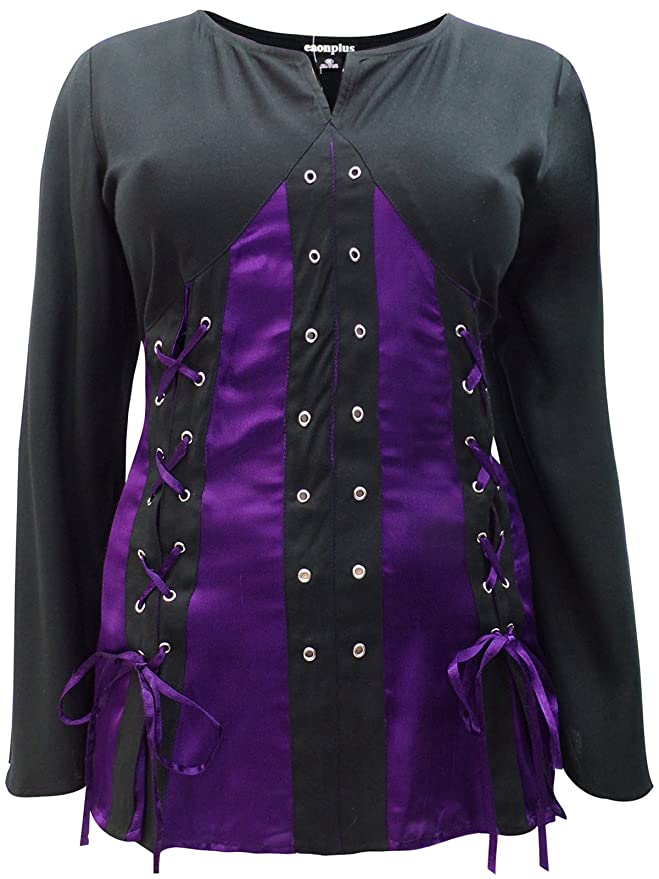 ed8a7cfe5074f Curvy Girls Clothes eaonplus Purple Black Pirate Queen Gothic Grommet Blouse  - Plus Size 18 To 32 (18)  Amazon.co.uk  Clothing