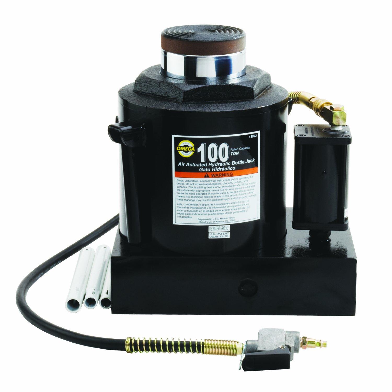 Amazon.com: Omega 18992 Black Hydraulic Air Actuated Bottle Jack - 100 Ton Capacity: Automotive