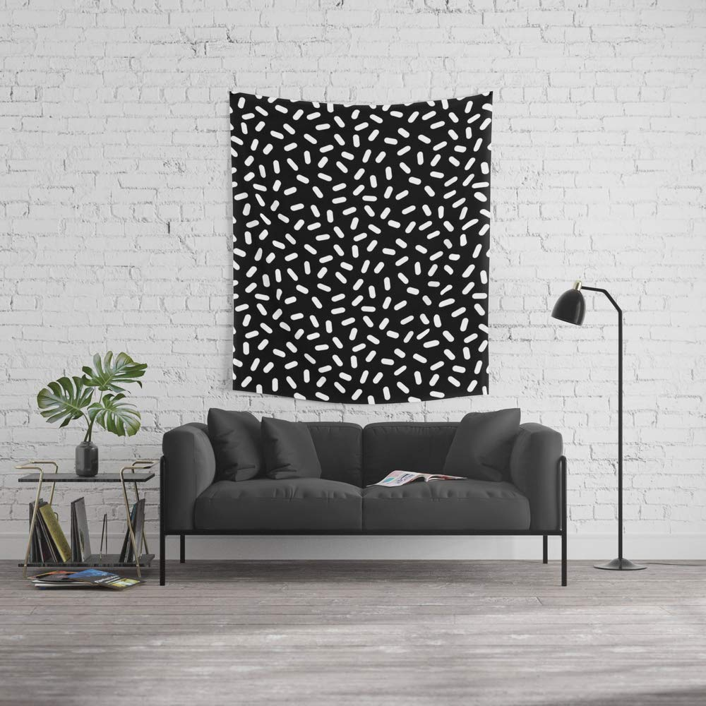 Society6 Wall Tapestry, Size Medium: 68'' x 80'', Bingo - Black and White Sprinkle Retro Modern Pattern Print Monochromatic Trendy Hipster 80s Style by wacka by Society6