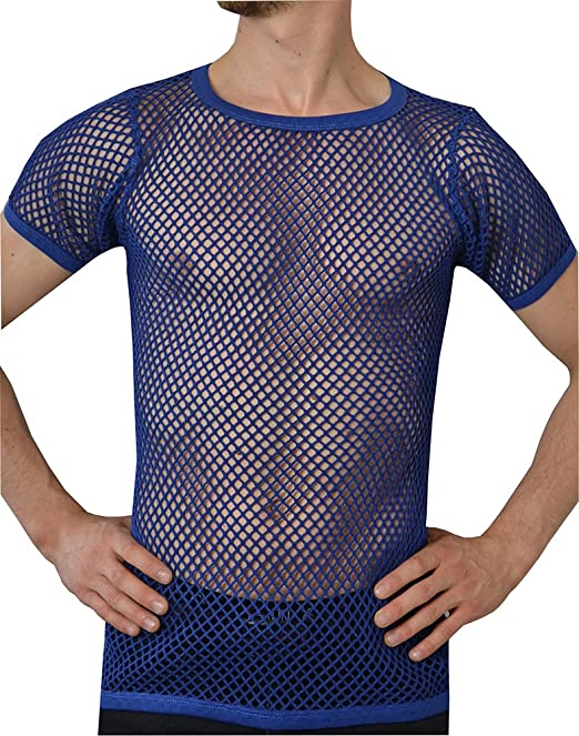 d9471871 Crystal Mens 100% Cotton String Mesh Fishnet Short Sleeve T-Shirt:  Amazon.co.uk: Clothing