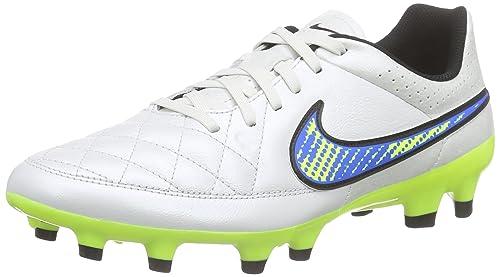 more photos 691db a6793 Nike Tiempo Genio FG Piel de balón de fútbol de Manga Corta para Hombre  Zapatos White - Blue - Yellow Talla 40  Amazon.es  Zapatos y complementos