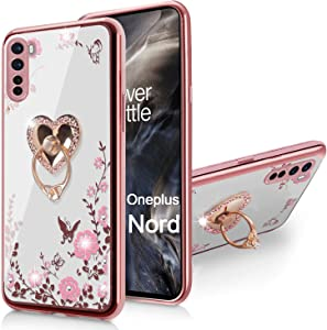 OnePlus Nord Case, Glitter Crystal Sparkly Diamond Secret Garden Floral Butterfly Clear Back Soft TPU Case with Bling Shiny Rhinestone Ring Grip Holder Stand for Oneplus Nord 5G (2020) - Rose Gold
