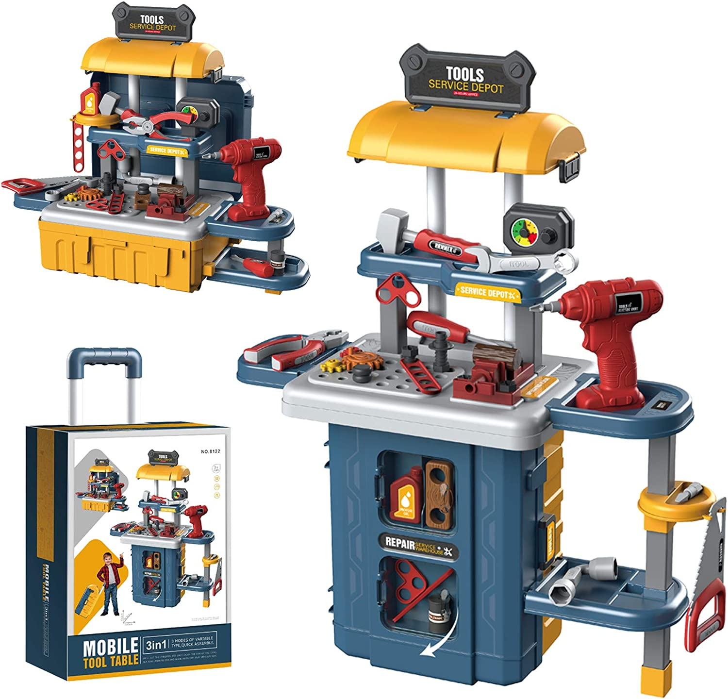 Kuopry Kids Tool Bench Set, Toddler Toys Workbench with Electric Drill & Realistic Tools, 3 in 1 Transformable Construction Workshop Toy for Boys & Girls Educational Pretend Play Gift for Children
