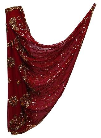 cde3214c46af PEEGLI Indian Bollywood Écharpe Traditionnel Écharpe Fleurs Conception  Bordeaux Brodé Fait Main Vintage Châle Georgette Art