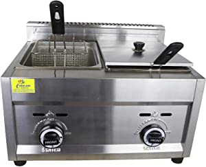 Commercial Deep Fryer with Basket & Lid, using Propane, Double Tank/Two Compartment-2X3.5 Gallon Capacity, 26 Liter-Stainless Steel 25 lb. 23
