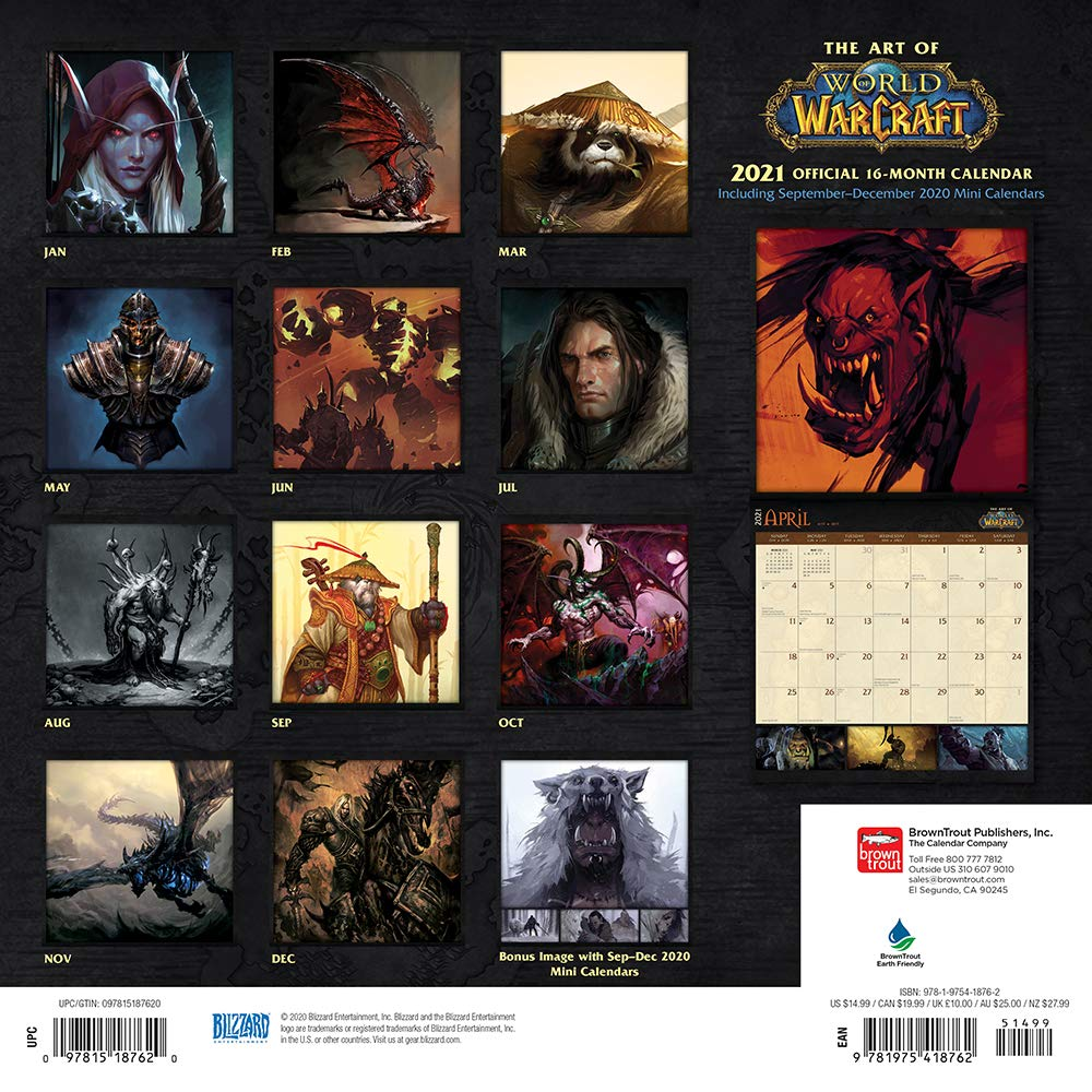 World of Warcraft 2021 12 x 12 Inch Monthly Square Wall Calendar