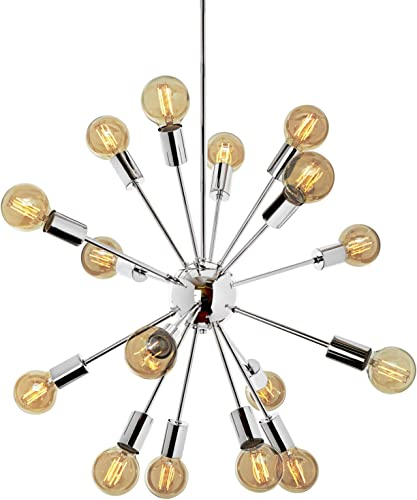 Chrome Sputnik Chandelier Light – 16 Socket, Mid-Century Ceiling Fixture, Modern Starburst Style, Dimmable, Damp Located – ETL Listed