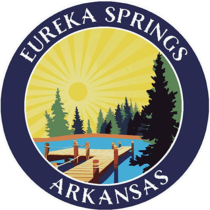 "Lake Dock - Eureka Springs - Arkansas 3.5"" Window Car Truck Sticker Decal Vacation Adventure Theme Novelty Applique"