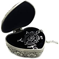 Ruimeng Game of Thrones Compass Pendant Necklace + Cherry Blossom Heart Jewelry Box,Great gift for A Song of Ice and Fire Game Of Thrones Fans Clistmas Gifts