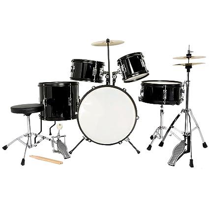 Amazon Com Lagrima Junior Drum Set Black 5 Piece Complete Kids Drum