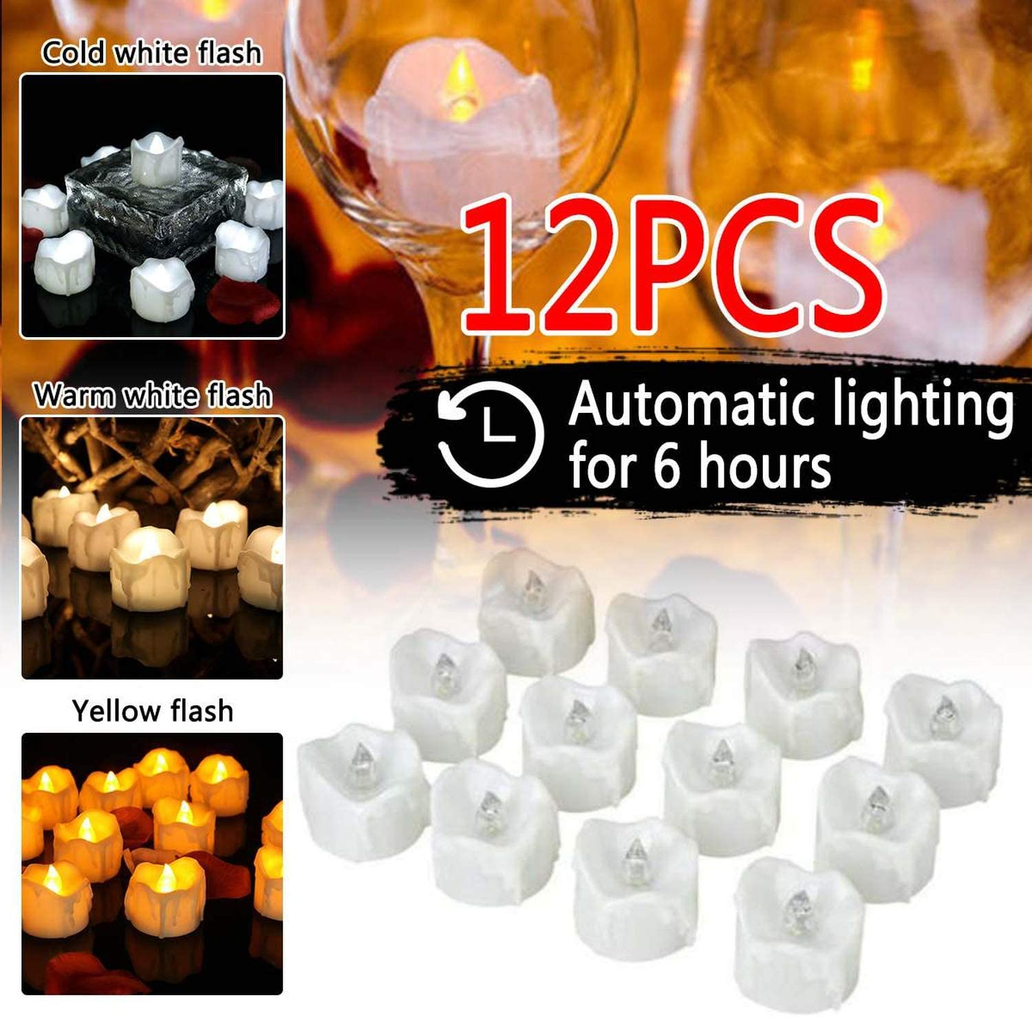 Fostudork Flameless Candles, 12//24Pcs 3Color Timing LED Rechargeable Candle Lamp Flame Flashing Tea Light Home Wedding Birthday Party Decor Timer Tealight,12Pcs Warm White,