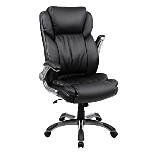 SONGMICS Extra Big Office Chair High Back Executive Chair with Thick Seat and Tilt Function Black UOBG94BK