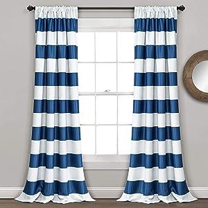 "Lush Decor, Navy Stripe Blackout Curtains   Room Darkening Window Panel Set (Pair), 95"" x 52, 95 x 52"