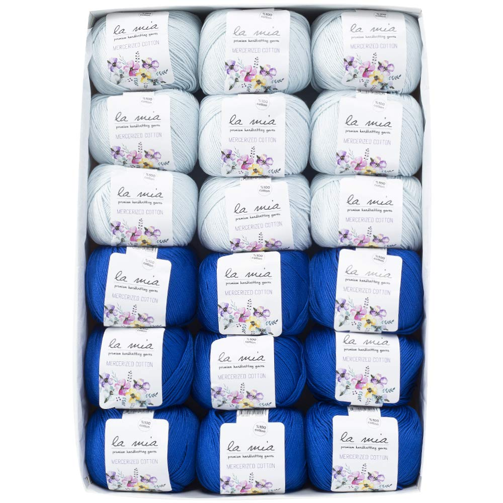La Mia Mercerized Cotton Gift Set - 18 Skeins of Assorted Colors La Mia Mercerized Cotton Yarn, Each Ball 1.76 Oz (50g) / 135 Yrds (147m), Soft, 3 : Light-Dk (Sapphire) by La Mia (Image #2)