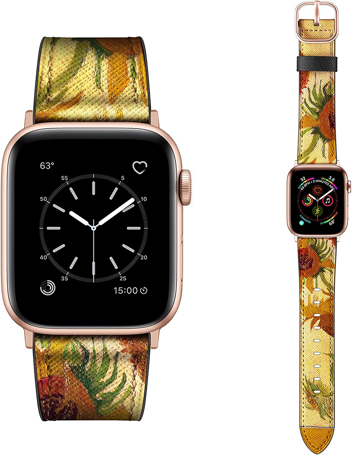 Dilando Leather Band Compatible with Apple Watch Loop Series 6 38mm 40mm Genuine Leather Vintage Colored Strap Classic Bracelet Buckle for iWatch SE Rose Gold 6 5 4 3 2 1 Women Yellow Sunflower