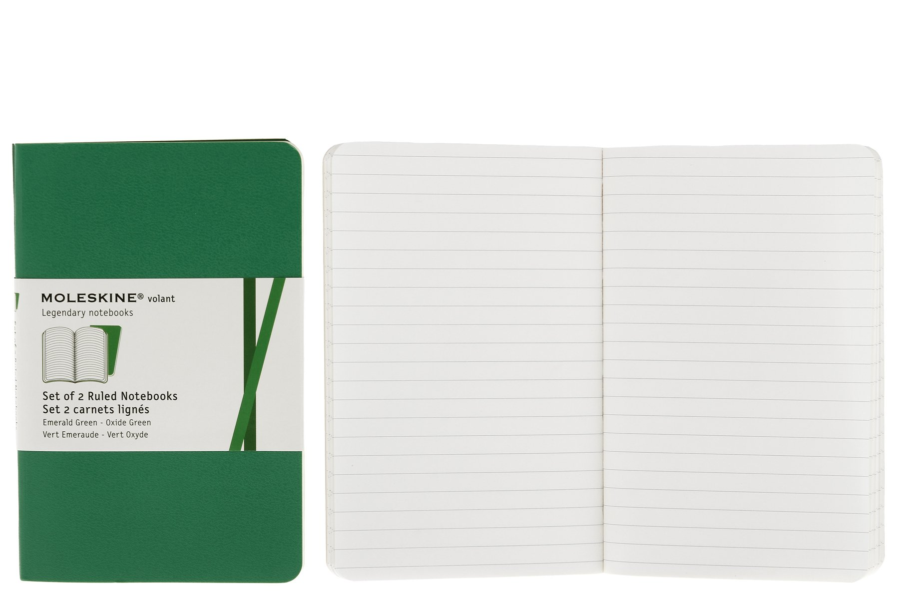 Moleskine Volant Notebook (Set of 2), Pocket, Ruled, Emerald Green, Oxide Green, Soft Cover (3.5 x 5.5)
