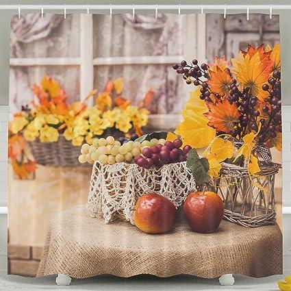 xiaobaby Otoño todavía vida en yute de la mesa cubiertos con manzanas uvas Classic baño cortinas