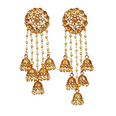eb48a35ad Pourni exclusive Designer American Diamond peacock shapped Jhumka Earring
