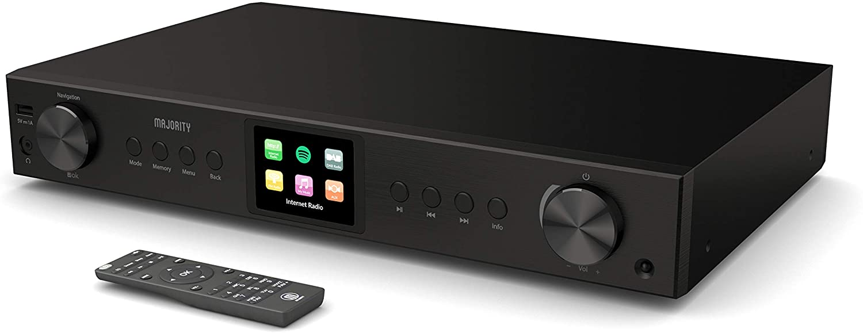 Sintonizador Hi-Fi Majority Fitzwilliam 2 - Radio Digital Dab/Dab + FM e Internet - Spotify Connect - Bluetooth - USB y AUX - Óptico, coaxial y Salida de línea - Pantalla a Color (Negro)