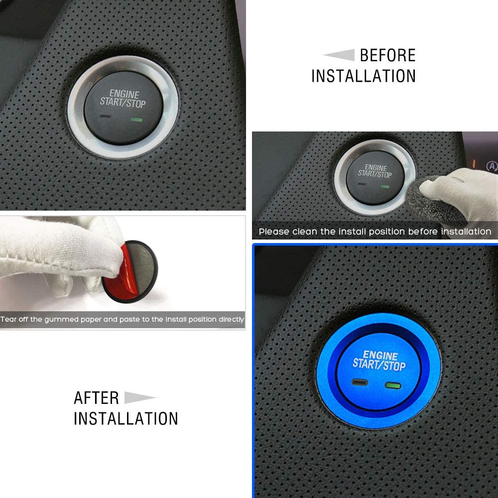 Ceyes Blue Engine Start//Stop Emblem Push to Start Button Cover+Ring for Buick Envision Regal Cadillac Escalade CTS XTS CT6 XT4 XT5 SRX Chevrolet Cruze Malibu Tahoe Suburban Impala Equinox GMC Yukon