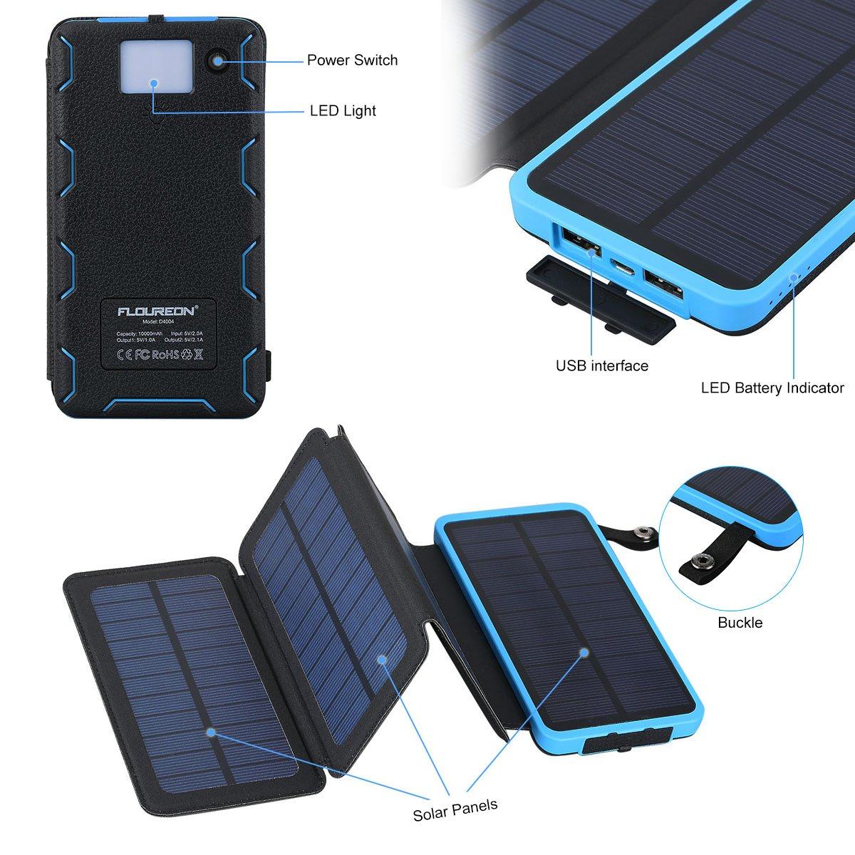 Solar Charger Power Bank 10,000mAh With 1+3PCS Solar Panels - FLOUREON Portable Mobile Phone Solar Charger Power Bank Dual USB 1.0A/2.1A Max IP67 Waterproof LED SOS Flashlight External Battery for iPhone, iPad, Samsung Galaxy and Android Ph