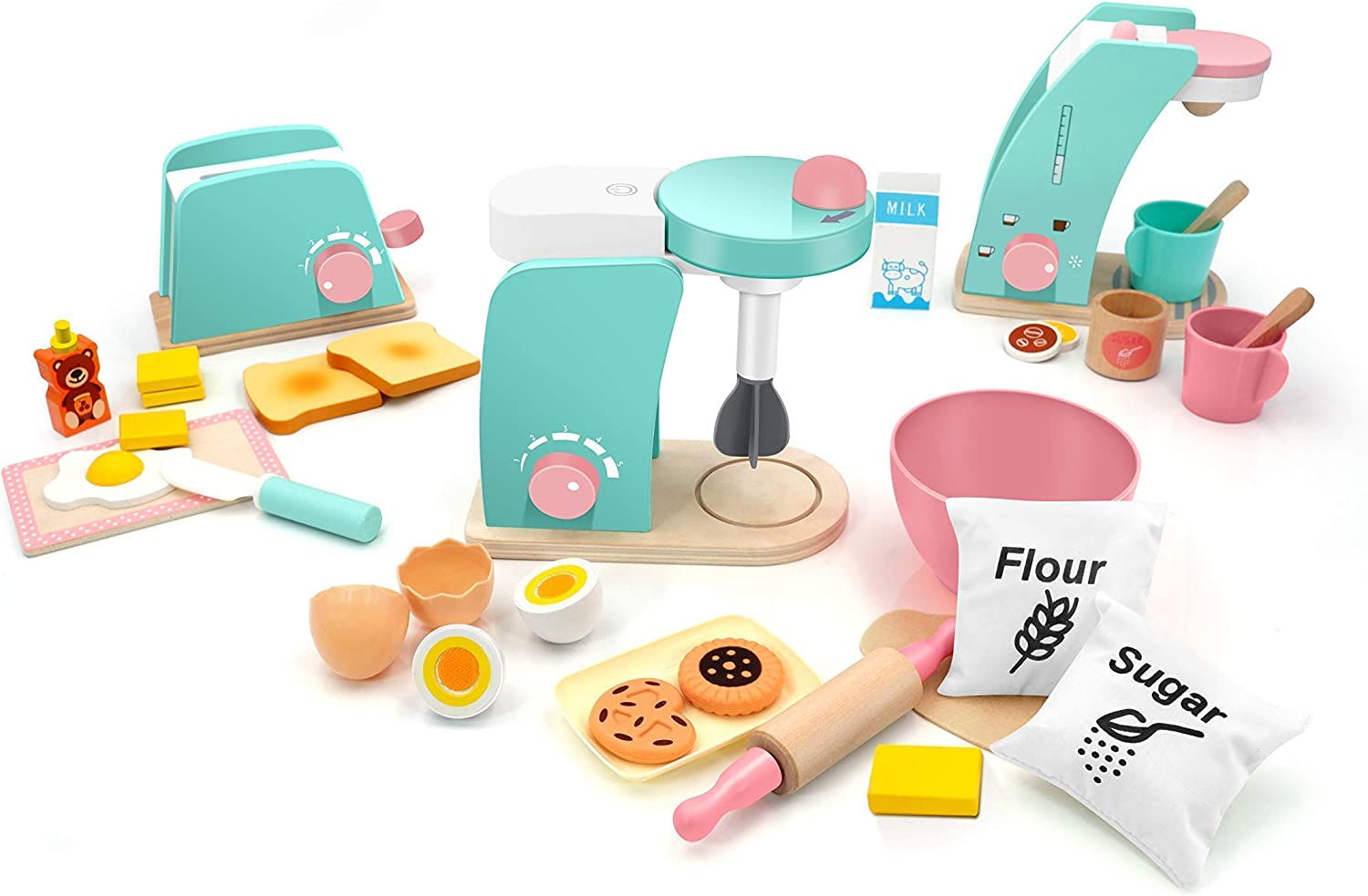 Tiny Land Wooden Toy Toaster+ Mixer + Coffee Maker