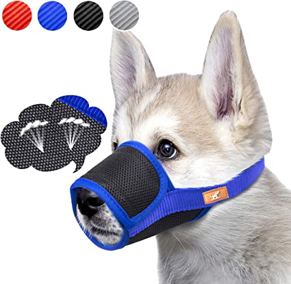 Nylon Puppy Dog Pet Mouth Bound Device Mask Safety Adjustable Breathable Muzzle Stop Biting Anti Bark Bite Mesh Small Large Dogs Blue Jasnyfall