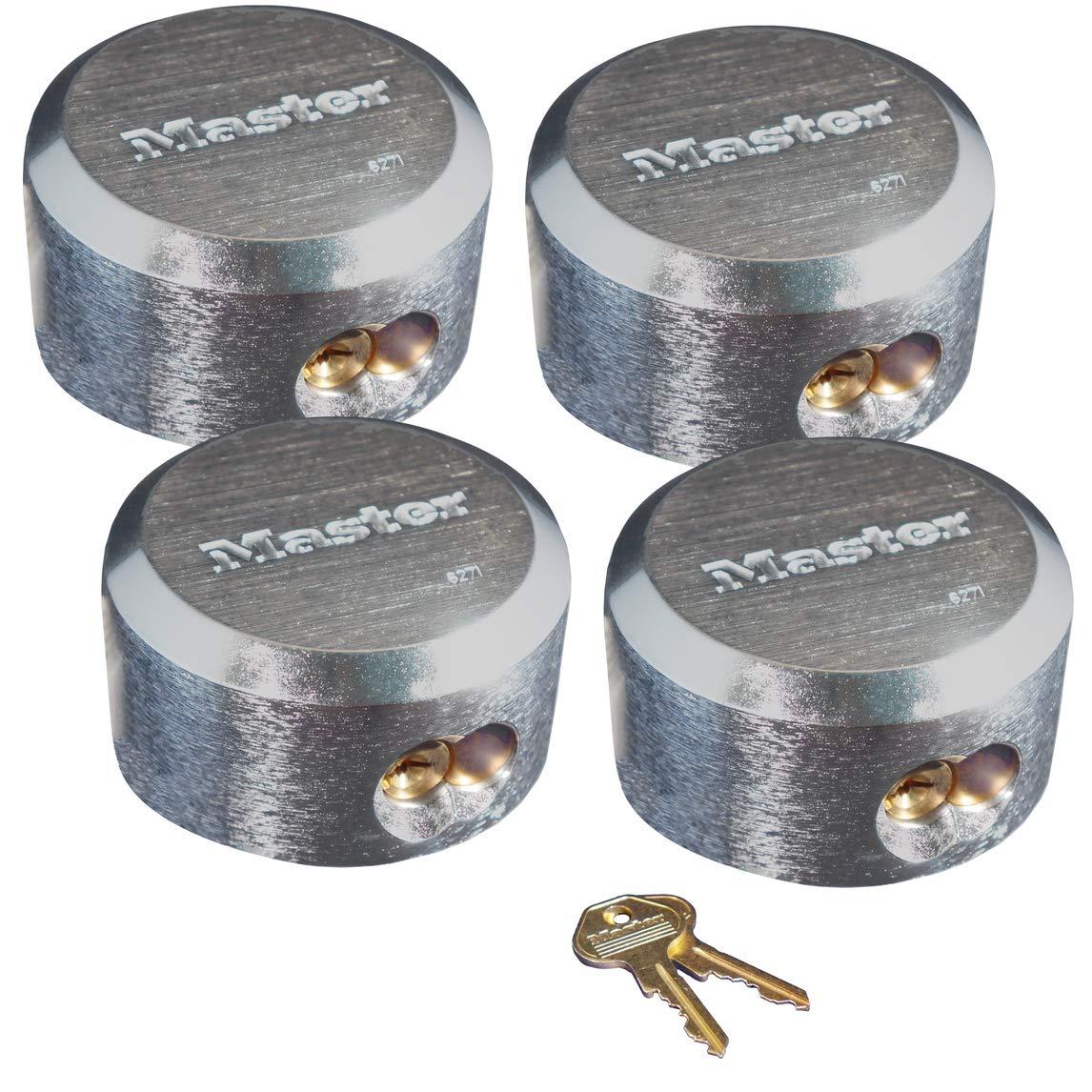 Master Lock 6271KA 4 Pack 2-7/8in. ProSeries Reinforced Hidden Shackle Rekeyable Pin Tumbler Keyed Alike Padlock, Chrome