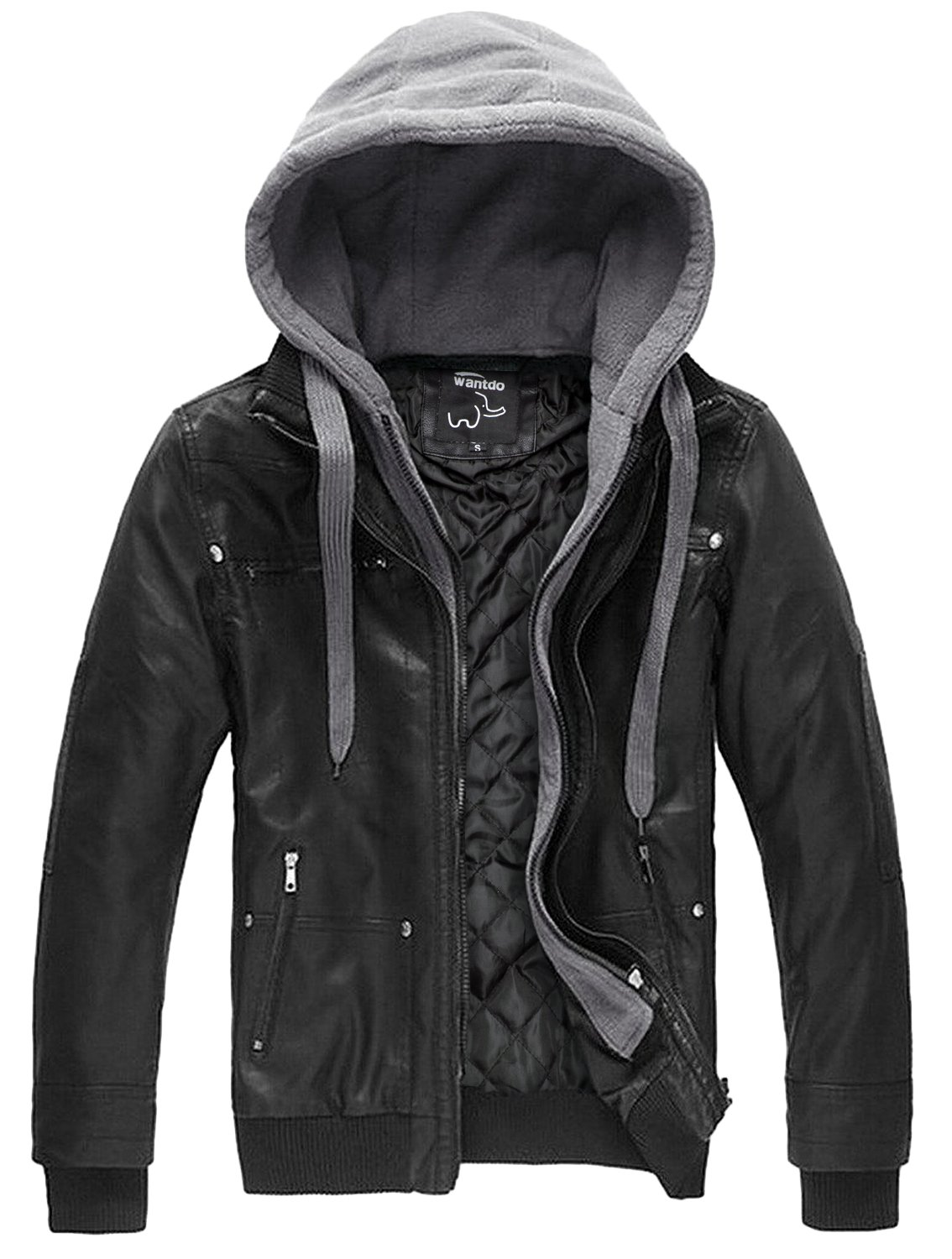 Wantdo Men's Leather Jacket with Removable Hood US XX-Large Black(Heavy) by Wantdo