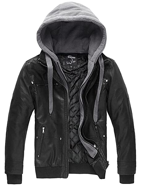Wantdo Mens Faux Leather Jacket with Removable Hood