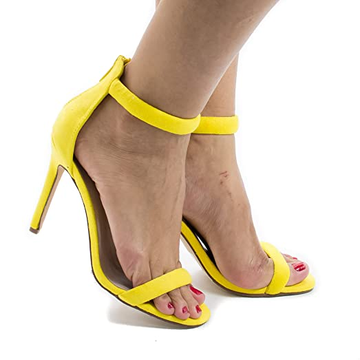 Classic High Heel Strappy Zipper Ankle Strap Sandal Women Shoes (Yellow Imsu)
